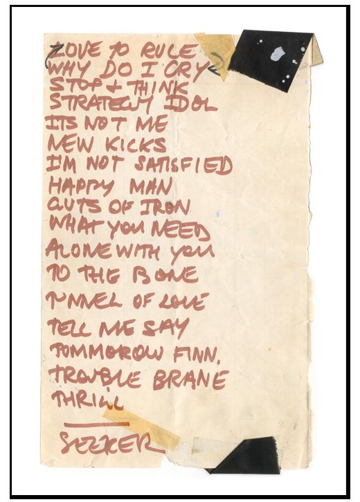 Jon Campbell, Setlist